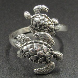 Size 10 Sterling Silver Unique Double Turtle Ring